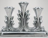 Upcycled Vintage Metallic Silver Fostoria Glass Tripple Candelabra