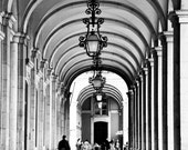 Portuguese architecture black and white photo, printed on canvas. Street architecture photo. Arch photo.