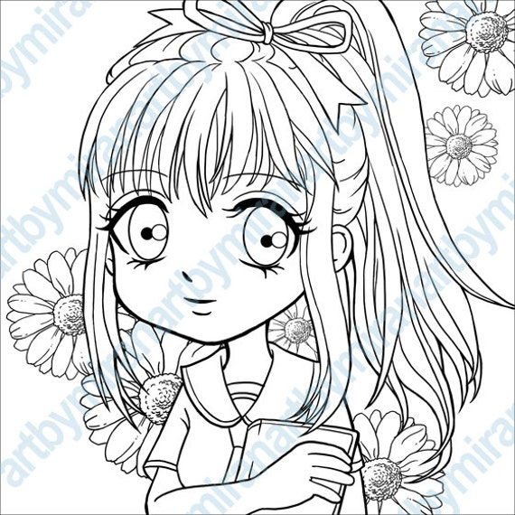 Digital Stamp-Schoolgirl Daisy, Coloring book, Anime / Manga, girl illustration, Coloring page, DIGITAL FILE, instant download 5 x 5 inch