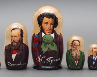 Russian writers Pushkin, Dostoevsky, Tolstoy matryoshka babushka russian nesting doll 5 pc Free Shipping plus free gift!