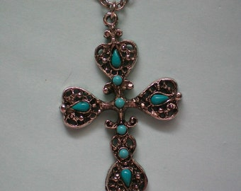 Silver tone Cross Pendant with faux Turquoise - 3032