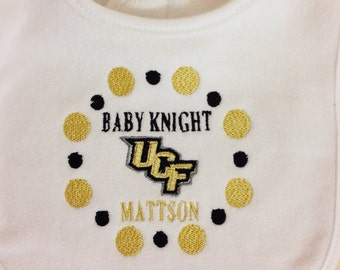UCF Personalized Embroidered Baby Bib