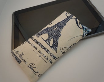 Fabric eyeglass sunglass case canvas lined padded Natural/Navy French stamp print