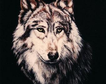 Grey Wolf pastel painting, framed original