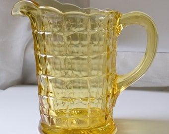 Tiara Yellow Mist Constellation 64 oz Pitcher by Indiana Glass