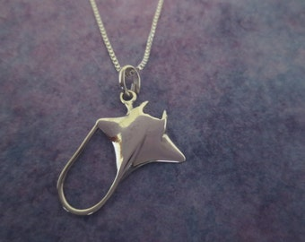 Sterling Silver .925 Polished Sting Ray Necklace/Manta Ray Charm/Ocean Life Jewelry/Sea Life Necklace/Hawaiian Jewelry/Bat Ray Necklace