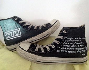 Custom Nine Inch Nails (NIN) music theme art work on Converse with lyrics.