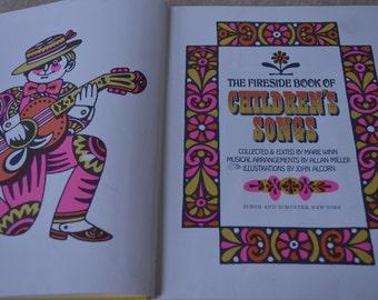 Vintage 1960's The Fireside Book of Children's Songs By Marie Winn Illustrations By John Alcorn