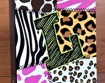 Personalized Three Ring Girls Animal Print Leopard Cheetah Zebra Stripe Binder for School Organizer Office Homework Black or Any Color