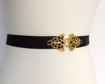 Black Elastic Waist Belt. Filigree gold buckle. Elegant skinny belt. Stretch dress belt.