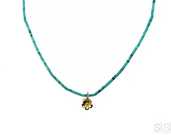 Cherry Blossom Charm Turquoise Necklace