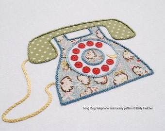 Ring Ring Telephone modern hand embroidery pattern - modern embroidery PDF pattern, digital download