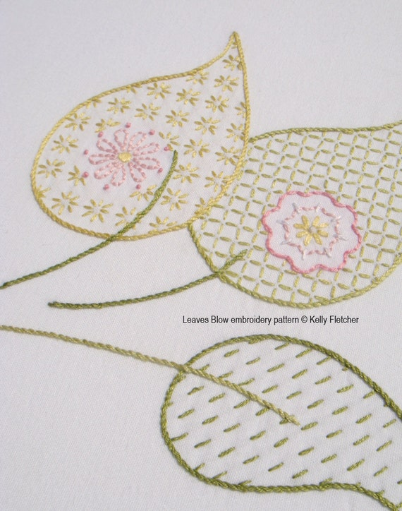 Leaves blow modern hand embroidery pattern