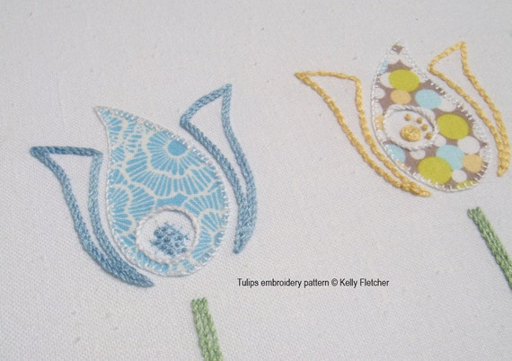 Tulips modern hand embroidery pattern pdf