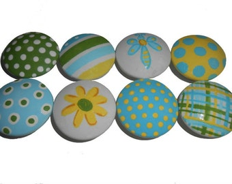 8 Girls Stripes and Dots Custom Hand Painted Drawer Pulls Knobs