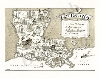 Pictorial Map of Louisiana - fun illustration of vintage state map