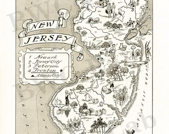Pictorial Map of New Jersey - fun illustration of vintage state map