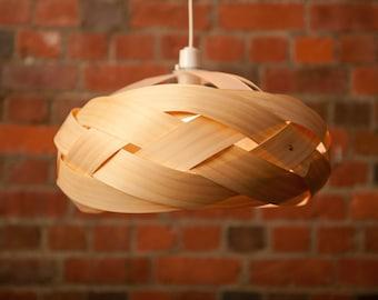 Wood veneer pendant light shade Wrap by Minnowlighting on Etsy