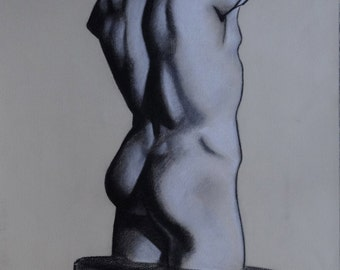 Original Charcoal Drawing, Male Torso, Black and White Art, Classical Art, Greek Sculpture