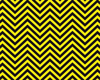 Yellow and black chevron craft  vinyl sheet - HTV or Adhesive Vinyl -  zig zag pattern   HTV71