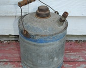 Antique Galvanized Oil Can With Wooden Handle