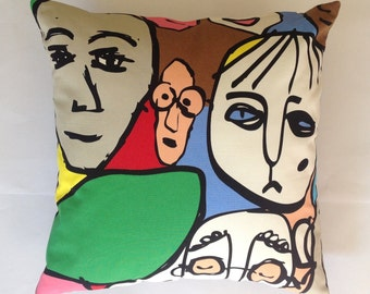 Cotton throw pillow cushion in bold tones