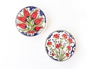 2 or 3 Piece Ceramic Beverage Coasters Hand Painted with Traditional Turkish Ornaments