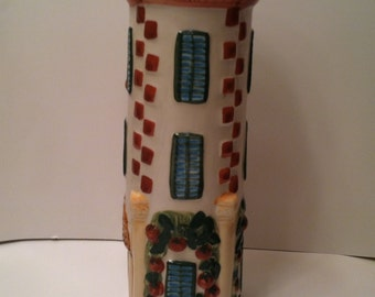 Large Ceramic Lighthouse Tower Spaghetti Holder With Lid