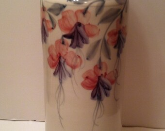 Awesome Handpainted Handthrown Vase With Painted Fuschia