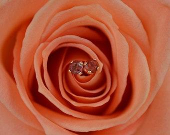 Orange Sapphire Stud Earrings, Sapphire Earrings, 14 K Yellow Gold Stud Earrings, 3mm Studs
