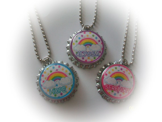 free ship-6 PERSONALIZED RAINBOW girls rock diva gorgeous birthday party bottlecap party favors keychains zipper pulls goody loot bags