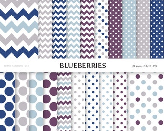 Blueberry Digital Paper, Digital Paper Pack of 20 papers, Blue Purple Grey Scrapbook paper supplies  - BR 254