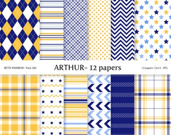 Navy blue Digital Paper Baby Boy Pack, 12 Baby Boy Digital Papers in blue and yellow - BR 269