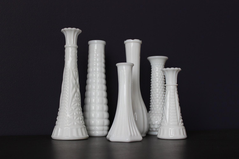set of 6 vintage milk glass vase lot milk glass wedding. Black Bedroom Furniture Sets. Home Design Ideas