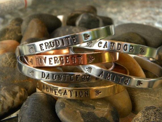 Divergent inspired bracelet - Factions - Abnegation, Dauntless, Amity, Candor, Erudite, Divergent