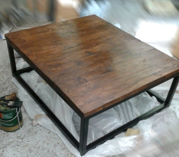 industrial style vintage coffee table chunky waxed top by. Black Bedroom Furniture Sets. Home Design Ideas
