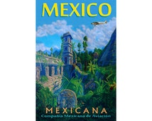 """MEXICANA Airlines MEXICO -New Retro Travel Print Poster  Ford TriMotor Airplane Travel Art -in 12""""x18"""", 20""""x30"""" or 24""""x36"""" sizes- Print 072"""