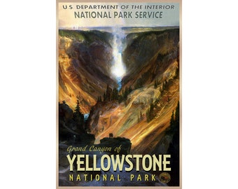 Grand Canyon of YELLOWSTONE Original Retro Travel Poster National Park Wyoming Montana Idaho Waterfall available in 3 sizes -Art Print 139