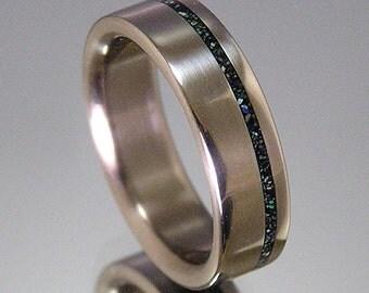 Natural Blue-Green Turquoise Offset Pinstripe Inlay Titanium Wedding Band or Ring