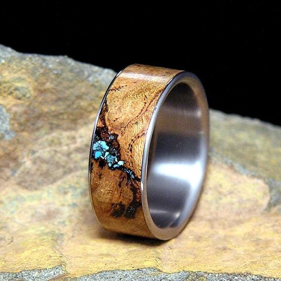 Black Cherry Burl Turquoise Inlay Titanium Wedding By