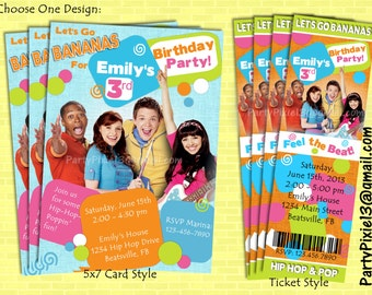Fresh Beat Band Party Invitation - 5X7 Post Card Style or Ticket Style - Printable and customized with your party details. Digital file.