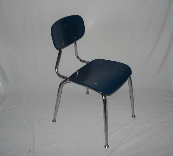 Blue School Chair retro blue school chairs mid century modern vintage chrome