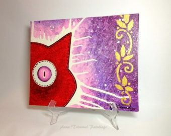 Cat painting, acrylic cat painting, cat lady gift, canvas panel original art, red cat art wall decor, nursery wall art