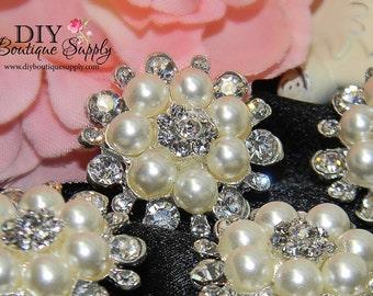 29mm Pearl buttons Rhinestone flatback Baby Headband Supplies Crystal Pearl flower centers Embellishment Bridal Bouquet supplies 3pcs 431068