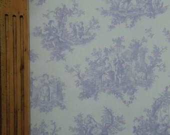 Provencale Lavender Lilac Lovers Countryside Toile De Jouy Wallpaper Mill Length Sample 6116