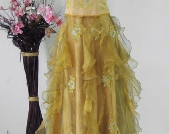 Golden Yellow Vintage Gown, Bridesmaid, Graduation, Prom, Party Dress, Upcycled , Embroidered, Medium