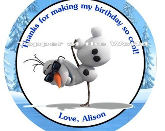 12 Cool Olaf Personalized Disney Frozen Birthday Party Favor Thank You Tags or Stickers you choose Thanks