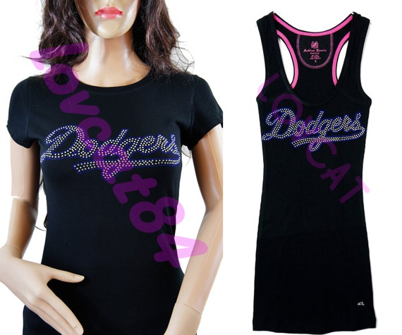 Los Angeles Dodgers Jersey Bling Rhinestone T-shirt / By