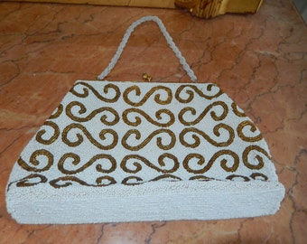 White and Gold Beaded Handbag