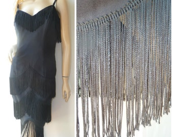 fringe  black midi party dress boho mini